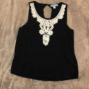 Black top with embroidered neck